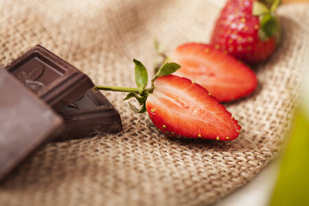 delicious strawberries and chocolate chips 写真素材