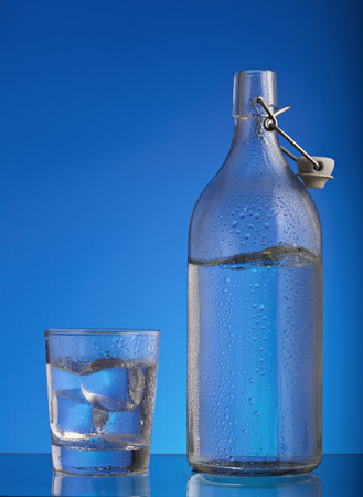Bottle and glass with ice cold water