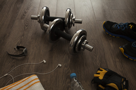All the necessary equipment for fitness Stock Photo