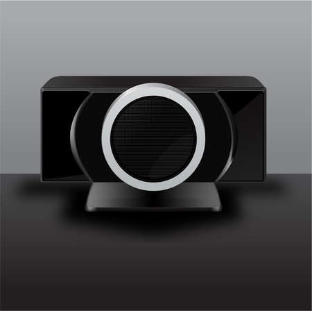 black stylish audio system front view  Illustration