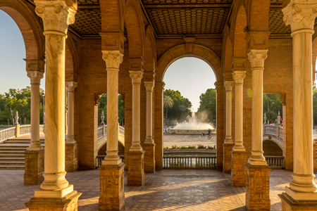 Corridors and pillars in Plaza de Espana in Seville, Spain, Europe