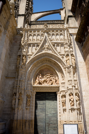 The Door of the gothic church in Seville, Spain, Europe Stock Photo