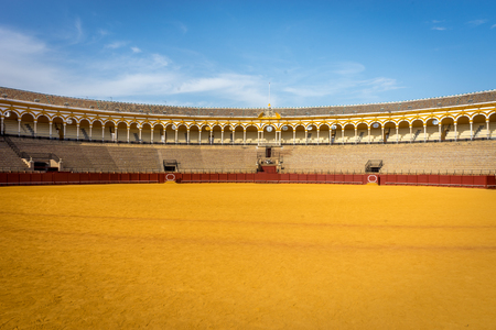 terracing: The bull fighting ring at Seville, Spain, Europe Editorial