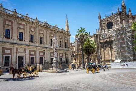 Side view of the cathedral in Seville, Spain, Europe. 에디토리얼