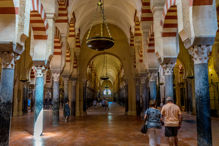 Arches and pillars inside the Mosque-Cathedral of Cordoba,Mezquita de C�rdoba,the Great Mosque of C�rdoba, Mosque-Cathedral,La Mezquita, Mezquita in Cordoba, Andalucia