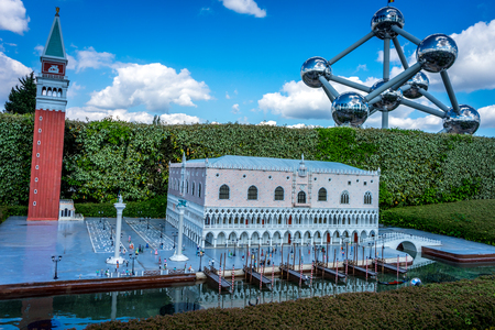BRUSSELS, BELGIUM - 17 April 2017: Miniatures at the park Mini-Europe - reproduction of the Palazzo Ducale in Venice, Italy, Europe Editorial
