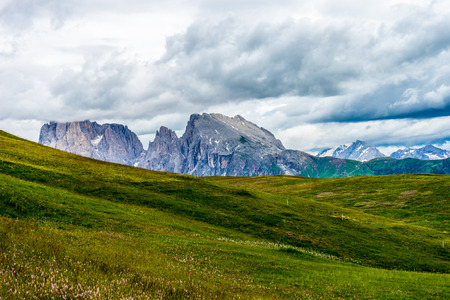 Italy, Alpe di Siusi, Seiser Alm with Sassolungo Langkofel Dolomite, a large green field with a mountain in the background Stock Photo