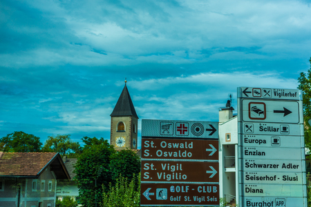 Kastelruth, Italy - 29 June 2018: Display board showing the details of Alpe De Diusi Kastelruth, Dolomites, South Tyrol, Italy.