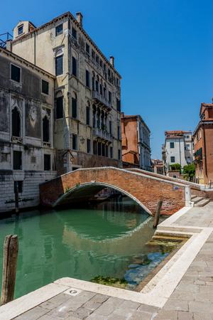 Europe, Italy, Venice, a bridge leading to a brick building