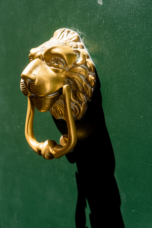 Italy, Venice, lion shaped door knob