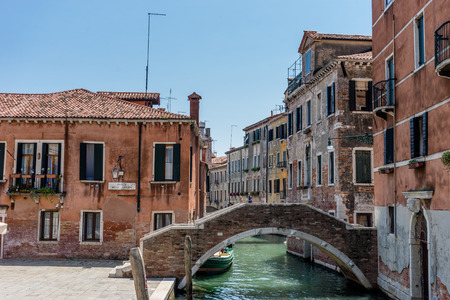 Venice, Italy - 01 July 2018: The ponte Ruga Vechia in Venice, Italy