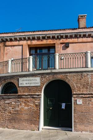 Venice, Italy - 30 June 2018: The Fondamenta monastero in Venice, Italy