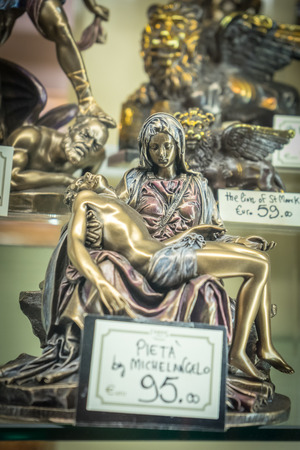 Venice, Italy - 30 June 2018: Pieta artifacts on display in a shop in Venice, Italy