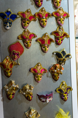 Venice, Italy - 30 June 2018: Colorful venetian mask on display in a shop in Venice, Italy 報道画像