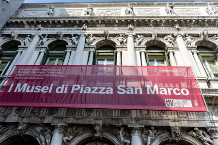 Venice, Italy - 01 July 2018: Museum at Piazza San Marco in Venice, Italy