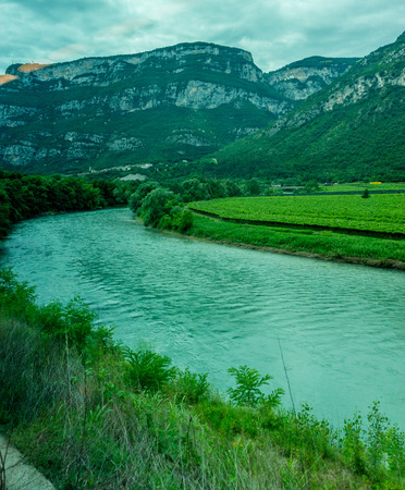 Europe, Italy, La Spezia to Kasltelruth train, a body of water with a mountain in the background