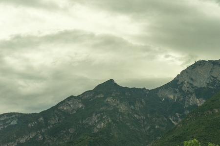 Europe, Italy, La Spezia to Kasltelruth train, a large mountain in the background