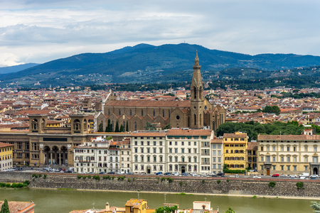 Panaromic view of Florence with Basilica Santa Croce viewed from Piazzale Michelangelo (Michelangelo Square) Stock Photo