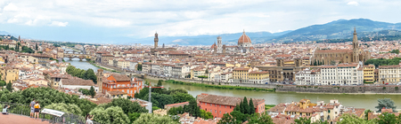 Panaromic view of Florence with Palazzo Vecchio, Ponte Vecchio and Duomo viewed from Piazzale Michelangelo (Michelangelo Square)