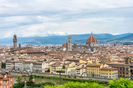 Panaromic view of Florence with Palazzo Vecchio and Duomo viewed from Piazzale Michelangelo (Michelangelo Square)