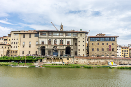 Florence, Italy - 25 June 2018: Gallery of the Uffizi over the Arno river in Florence, Italy