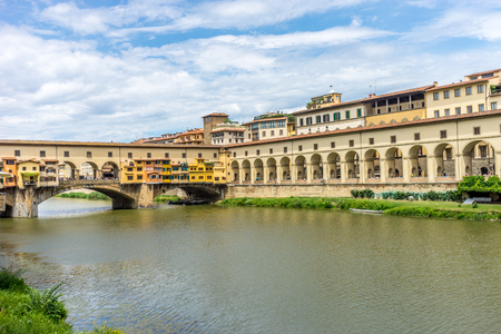 Florence, Italy - 25 June 2018: The Ponte Vecchio over the Arno River in Florence, Italy Editoriali