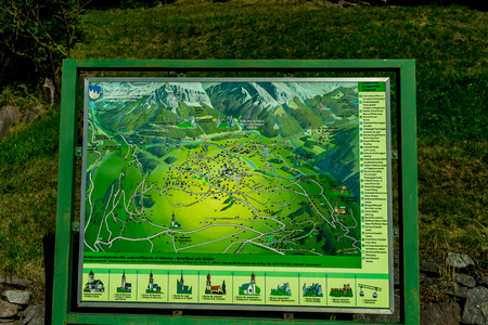 Kastelruth, Italy - 30 June 2018: The map of Alpe di Siusi in Italy 写真素材 - 119240714
