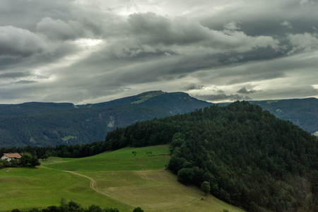 The Seis am Schlern, dolomites viewed at Kastelruth, Castelrotto in Italy 写真素材