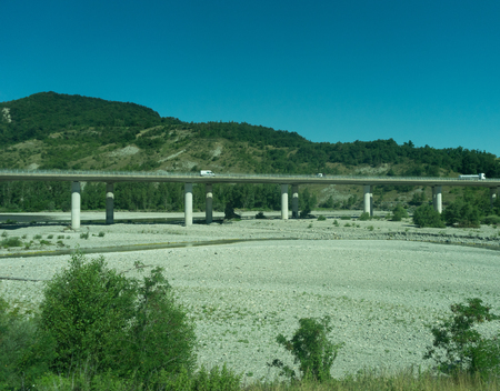 Italy - 28 June 2018: The road highway in the italian outskirts