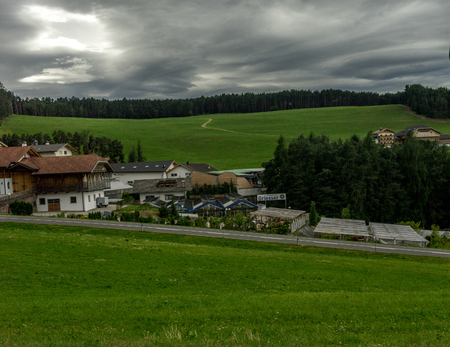 Italy - 28 June 2018: The Seis am Schlern, dolomites viewed at Kastelruth, Castelrotto in Italy 報道画像
