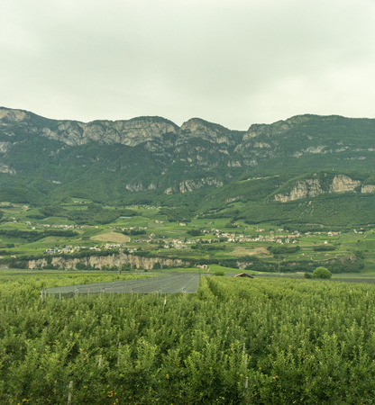 Europe, Italy, La Spezia to Kasltelruth train, a large green field with a mountain in the background