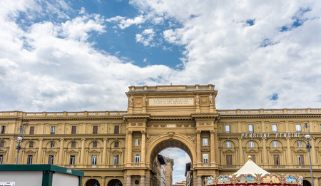 Florence, Italy - 25 June 2018: THE ANCIENT CENTER OF THE CITY RESTORED TO NEW LIFE FROM AGE-OLD SQUALOR in Florence, Italy Editorial