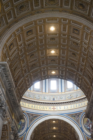 Vatican City, Italy - 23 June 2018: Decorated interiors of Saint Peters Basilica at St. Peters Square in Vatican City