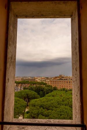 Cityscape of Rome viewed from  Castel Sant Angelo, Mausoleum of Hadrian Stock fotó