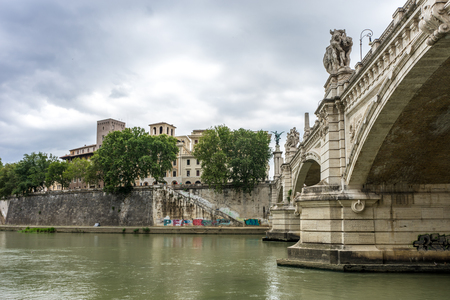 Rome, Italy - 23 june 2018: Ponte SantAngelo, once the Aelian Bridge or Pons Aelius on the tiber river