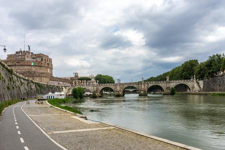 Rome, Italy - 23 june 2018: Ponte SantAngelo, once the Aelian Bridge or Pons Aelius on the tiber river