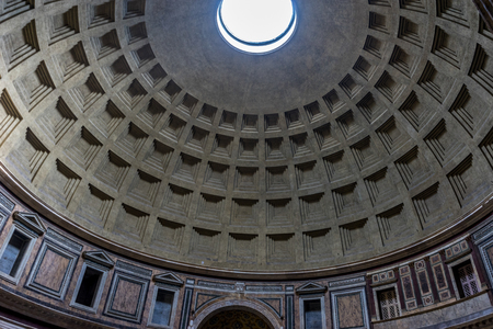 Rome, Italy - 24 june 2018: Interiors of the pantheon ceiling with oculus, Roman Pantheon is one of the best-known sights of Rome