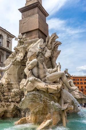 Rome, Italy - 24 june 2018: The Fontana dei Quattro fiumi ( Fountain of the four rivers) by Gianlorenzo Bernini 1651, Piazza Navona Editorial