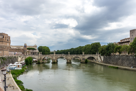 Rome, Italy - 23 june 2018: Ponte Sant'Angelo, once the Aelian Bridge or Pons Aelius on the tiber river Stock Photo - 119701948