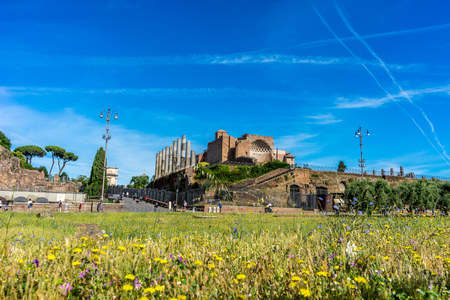 The ancient ruins at the Roman Forum of Temple of Venus and Roma at Rome viewed from the colosseum. Famous world landmark