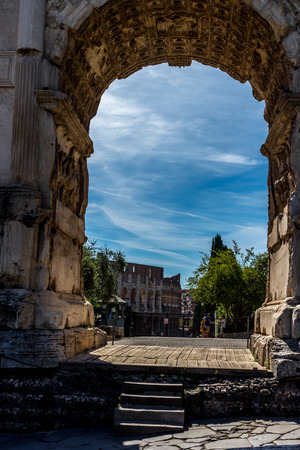 Arch of Titus on the via sacra at the roman forum in Rome, Italy