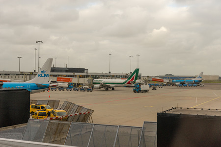 Amsterdam, Schiphol - 22 June 2018: KLM and Alitalia planes at the Schiphol airport