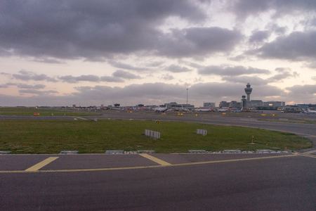 Amsterdam, Schiphol - 22 June 2018: the Schiphol airport control tower Éditoriale