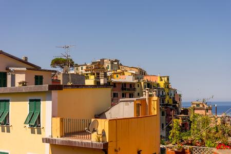 Corniglia,Cinque Terre, Italy - 27 June 2018: The townscape and cityscape of Corniglia, Cinque Terre, Italy 報道画像