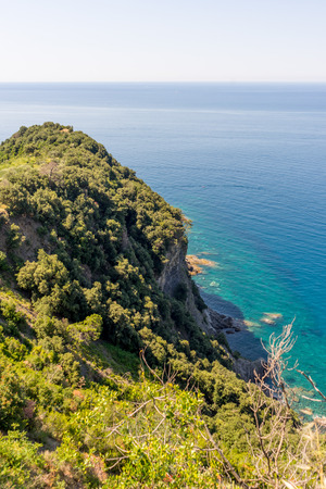 a close up of a hillside next to a body of water, Corniglia, Cinque Terre, Italy, Europe 写真素材