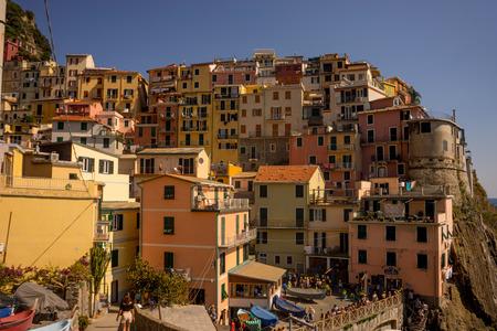 Manarola, Cinque Terre, Italy - 27 June 2018: The cityscape of Manarola, Cinque Terre, Italy Editorial