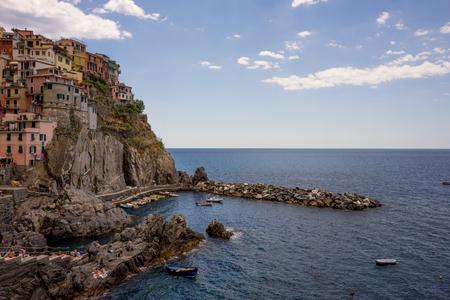 Manarola, Cinque Terre, Italy - 26 June 2018: The cityscape of Manarola, Cinque Terre, Italy