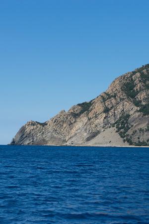 Europe, Italy, Cinque Terre, Monterosso, Monterosso al Mare, SCENIC VIEW OF SEA AND MOUNTAIN AGAINST CLEAR BLUE SKY