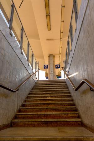La Spezia, Cinque Terre, Italy - 26 June 2018: Staircase at railway station at La Spezia, Cinque Terre, Italy Redakční