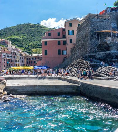 Vernazza, Cinque Terre, Italy - 26 June 2018: The cove on the Italian Riviera of Vernazza, Cinque Terre, Italy